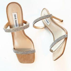 Steve Madden Michele R Camel Rhinestone Sandals
